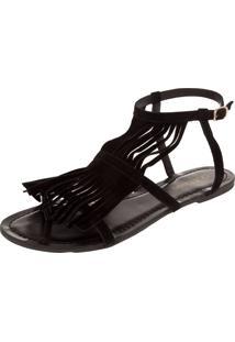 Rasteira Dafiti Shoes Franjas Preto