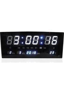 b884e13fe9c Relogio Digital De Parede Alarme Com Led Branco Calendario Term (Bsl-Rel-57