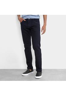 Calça Jeans Slim Zamany Lavagem Escura Masculina - Masculino-Jeans