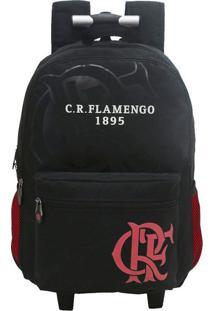 Mochila Com Rodas Flamengo Preta
