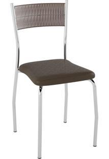 Kit C/ 2 Cadeiras Encosto Tabaco Assento Courissímo Metalizado Café Pozza