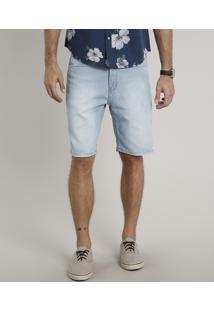 Bermuda Jeans Masculina Slim Azul Claro