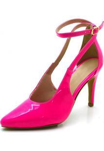 Sapato Scarpin Aberto Salto Alto Fino Em Napa Verniz Pink Neon - Kanui
