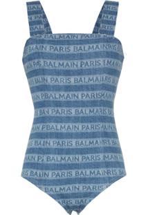 Balmain Body Jeans Listrado Com Logo - Azul