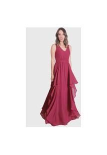 Vestido Longo Crepe Vinho Miss Joy 6113