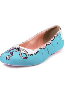 Sapatilha Shoes Inbox Bico Quadrado Cupcakes Shoes Feminino - Feminino-Azul
