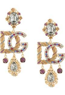Dolce & Gabbana Crystal Embellished Logo Drop Earrings - Amarelo