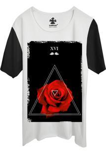 Camiseta Estampada Corvuz Red Rose Branca/Preta
