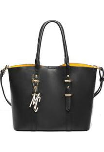 Bolsa Macadamia Tote Bag Com Compartimento Interno Caramelo - Feminino-Preto
