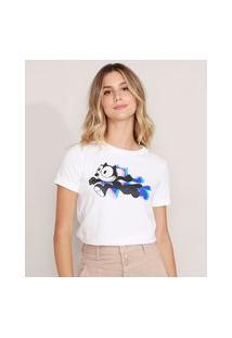 Camiseta Gato Félix Manga Curta Decote Redondo Off White