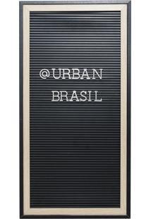 Quadro Madeira Plástico Alfabeto Preto Letras Pratas 26,7X2X52Cm Urban