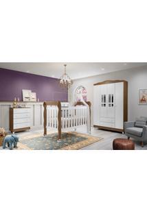 Dormitório Ariel Guarda Roupa Ariel 4 Portas/Cômoda 4 Gavetas/ Berço Lila Amadeirado Carolina Baby