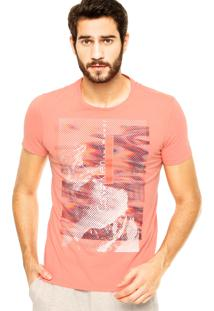 Camiseta Calvin Klein Jeans Estampa Color Coral