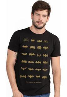 Camiseta Bandup! Masculina Batman 75 Anos Logos Collection - Masculino-Preto