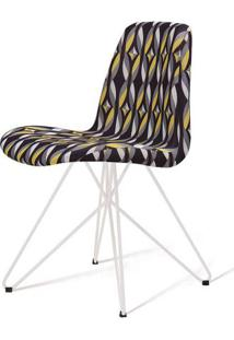Cadeira Estofada Jacob Suede Estamapado Base Aço Branco 46Cm - 62055 - Sun House