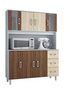 Armário De Cozinha Poliman Móveis Kit Ravena 7 Portas E 3 Gavetas Branco/Amêndoa Liso/Rovere Liso