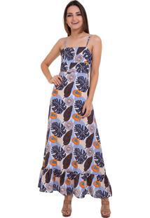 Vestido Kinara Longo Estampado Amarraã§Ã£O Nas Costas Azul - Azul - Feminino - Algodã£O - Dafiti