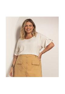 Blusa Plus Size Feminina Viscolinho Secret Glam Bege