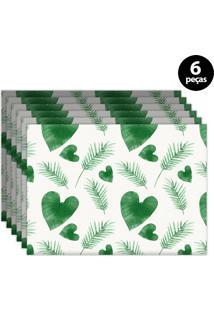 Jogo Americano Mdecore Floral 40X28Cm Verde 6Pçs
