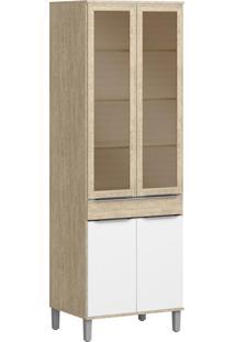 Armário De Cozinha 4 Portas Com Pés 0,70 M Cs606P Acácia/Branco - Decibal Móveis