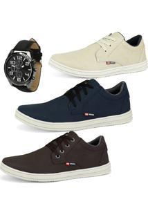 Kit Com 3 Sapatenis Cr Shoes Casuais Sintético Com Relógio Areia/Azul/Cafe