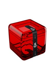 Porta Algodão/Cotonetes - Cube 8,5 X 8,5 X 8,5 Cm Vermelho Transparente Coza