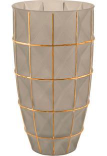 Vaso Fendi E Dourado Em Vidro