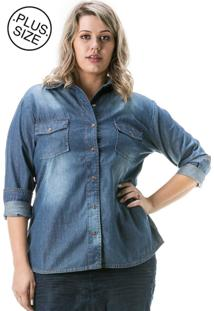 Camisa Jeans Plus Size - Confidencial Extra Manga Longa Azul