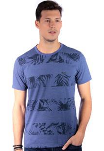 Camiseta Long Island Folhagem Masculino - Masculino-Marinho