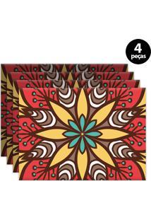 Kit 4Pçs Jogo Americano Mdecor Abstrato 40X28Cm Vermelho