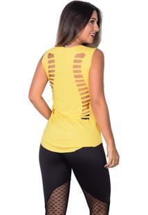 Regata Vip Fitness Corte A Laser Duplo E Silk Amarelo