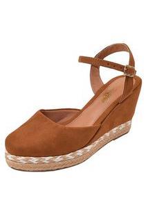 Sandália Uzze Sapatos Salto Anabela Caramelo