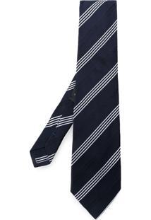 Etro Gravata Listrada De Seda - Azul