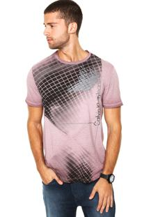 Camiseta Calvin Klein Estampa Recorte Roxa