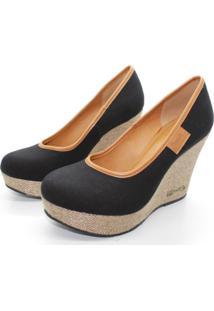 Scarpin Barth Shoes Land Sl Juta Ouro Lona - Preto - Tricae