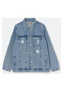 Jaqueta Alongada Jeans Com Estampa Garfield Re+ Curve & Plus Size   Ashua Curve E Plus Size   Azul   Eg