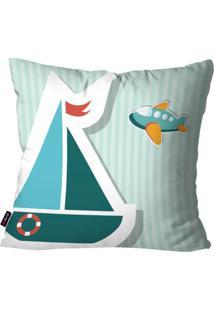 Capa De Almofada Avulsa Infantil Listrado Azul Barco 45X45Cm