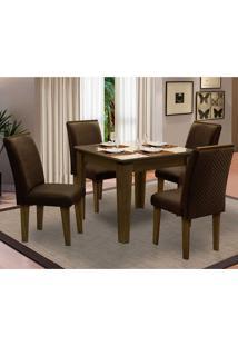 Sala De Jantar Saint Michel Com 4 Cadeiras – Dobuê Movelaria - Castanho / Bege / Chocolate
