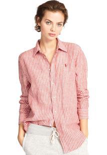Camisa Linho Polo Ralph Lauren Reta Relaxed Stripe Vermelha/Branca