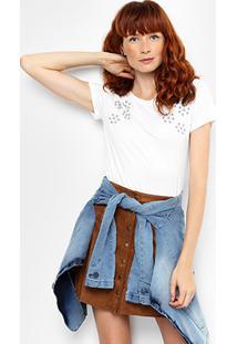 Camiseta Jin Com Apliques Feminina - Feminino
