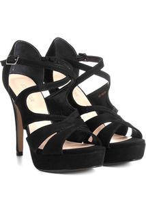 Sandália Couro Shoestock Meia Pata Cruzada Feminina - Feminino-Preto
