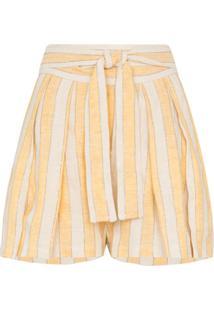 Three Graces Short Listrado Com Amarração Na Cintura 'Jola' - Amarelo