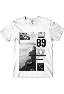 Camiseta Long Beach Litoral Dourado Sublimada Masculina - Masculino-Branco