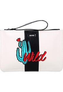 Bolsa Clutch Santa Lolla Cacto Wild Feminina - Feminino-Off White