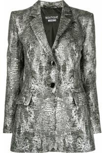 Boutique Moschino Blazer Com Efeito Metalizado - Prateado