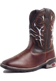 Bota Fran Boots Texana Country Cano Longo Marrom