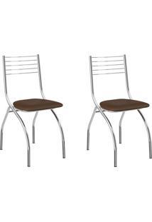 Kit 2 Cadeiras 146 Cacau/Cromado - Carraro Móveis
