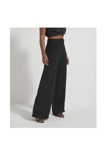 Calça Pantalona Básica Em Crepe Com Cinto E Fivela