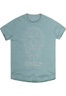 Camiseta Khelf Caveira Geométrica Azul Turquesa