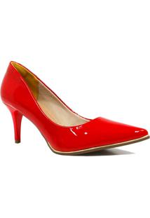 Sapato Zariff Shoes Scarpin Verniz Metal Vermelho